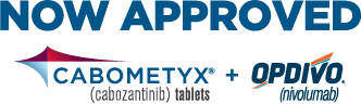 Now approved CABOMETYX + OPDIVO logo